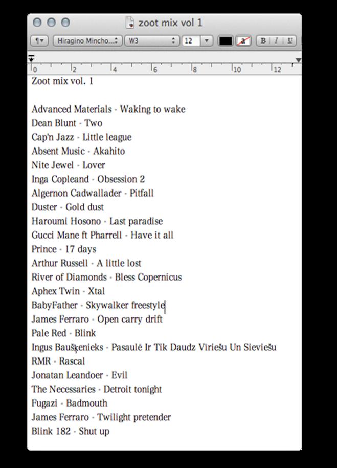 tracklist vol 1